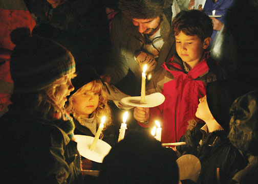 Boaters' children at the carol service in 2009