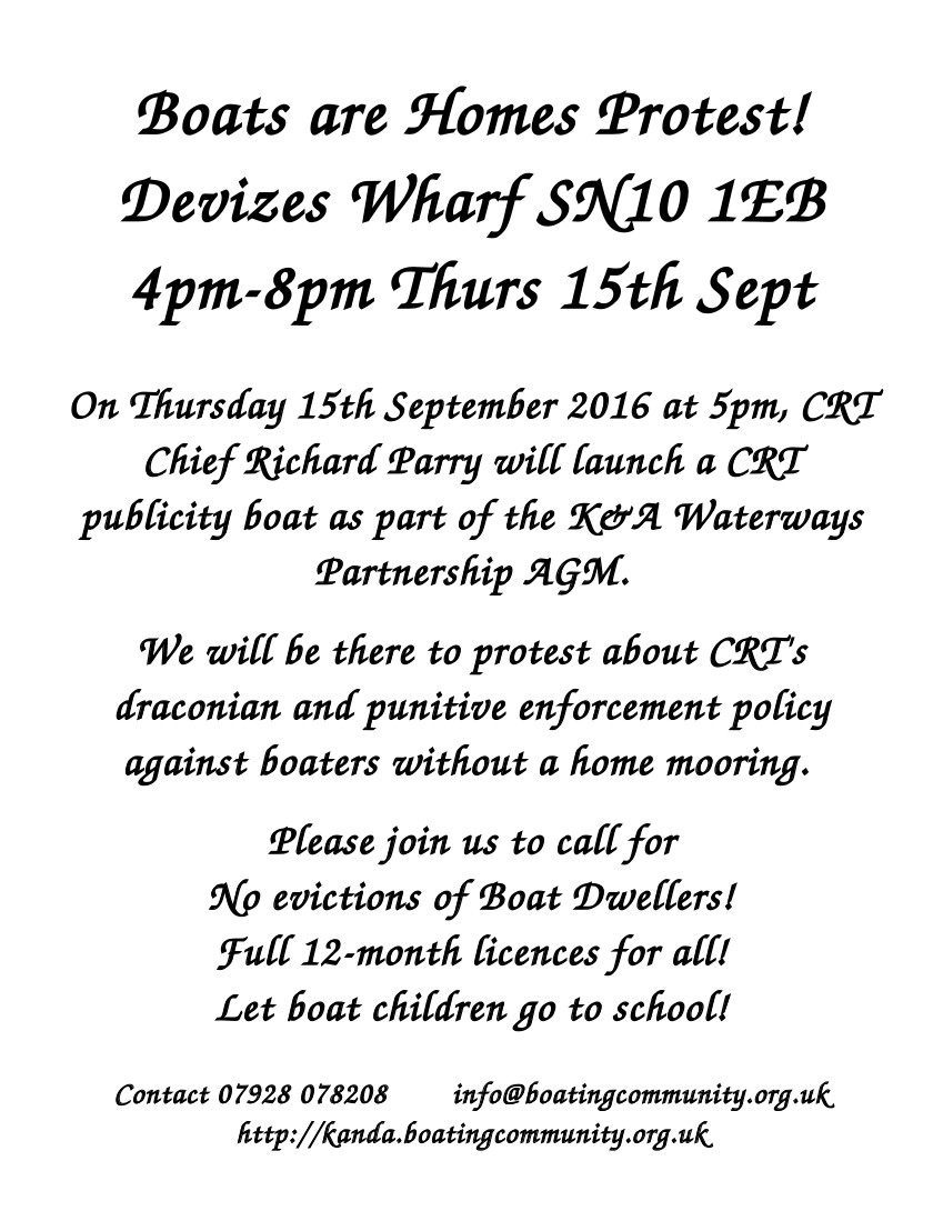 Protest at Devizes wharf 15-9-2016 flyer